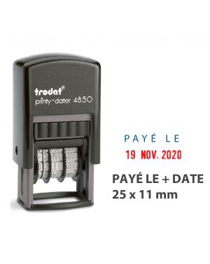 """Mini Dateur Bicolore """"PAYÉ LE"""" Trodat Printy 4850L2"""