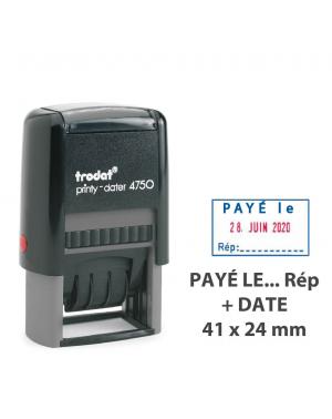 """Tampon Dateur Formule """"PAYÉ LE/ Par"""" Trodat Printy 4750L2"""