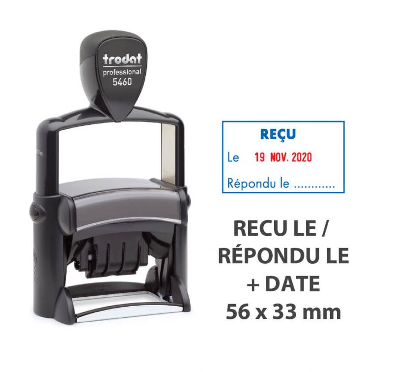 """Tampon Dateur """"RECU LE/REPONDU LE"""" Trodat Metal Line 5460L1"""