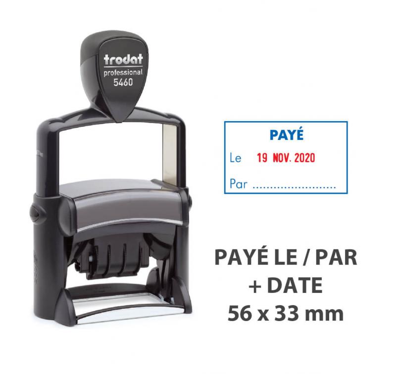 """Tampon Dateur """"PAYÉ LE/PAR"""" Trodat Metal Line 5460L2"""