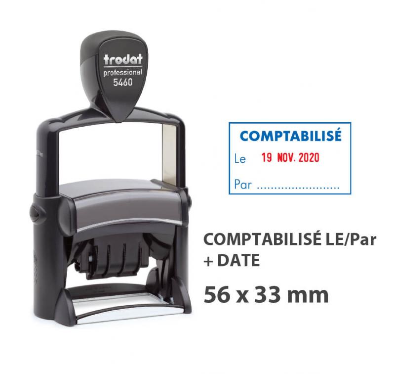 """Tampon Dateur """"COMPTABILISÉ LE/PAR"""" Trodat Metal Line 5460L4"""