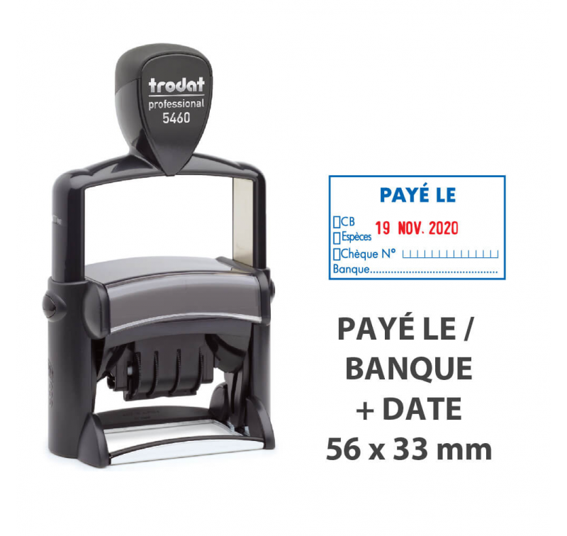 """Tampon Dateur """"PAYÉ LE/BANQUE"""" Trodat Metal Line 5460L10"""